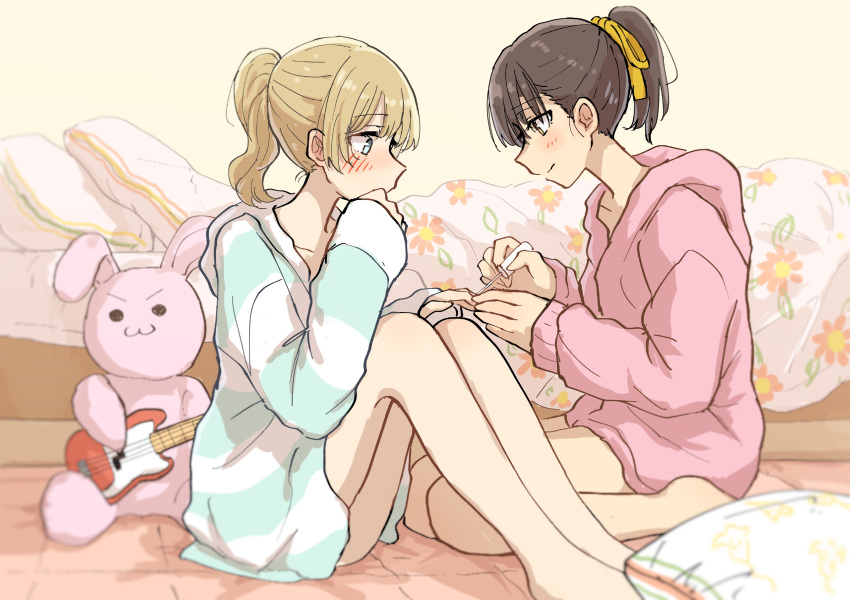 2girls :3 absurdres applying_makeup bare_legs barefoot bed betock blonde_hair blue_eyes blush brown_eyes brown_hair guitar hair_ribbon highres hood hooded_sweater indoors instrument multiple_girls nail_polish original painting_nails ponytail profile ribbon sitting stuffed_animal stuffed_bunny stuffed_toy sweater