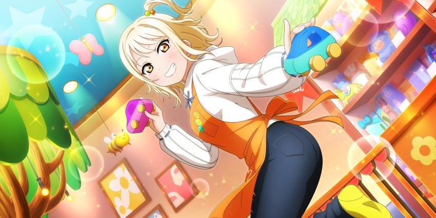 blonde_hair blush dress love_live!_school_idol_festival_all_stars miyashita_ai short_hair smile yellow_eyes