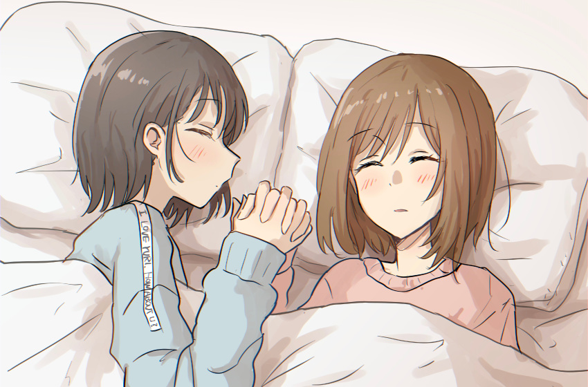 2girls absurdres bed betock blush brown_hair closed_eyes highres holding_hands interlocked_fingers multiple_girls original short_hair sleeping yuri