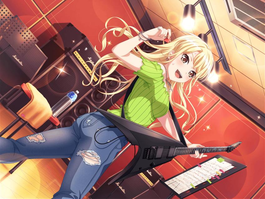 bang_dream! blonde_hair blush brown_eyes dress guitar kirigaya_touko long_hair smile