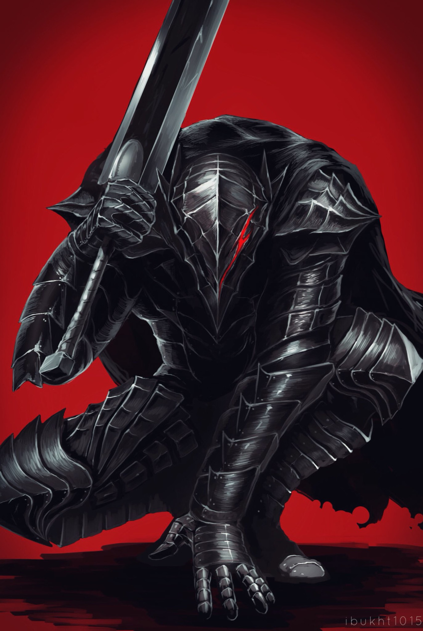 1boy armor artist_name berserk black_armor black_cape breastplate cape commentary_request facing_viewer full_armor gauntlets guts_(berserk) helm helmet highres holding holding_sword holding_weapon ibuo_(ibukht1015) knight male_focus over_shoulder pauldrons plate_armor red_background red_eyes shoulder_armor solo sword torn_cape torn_clothes weapon weapon_over_shoulder