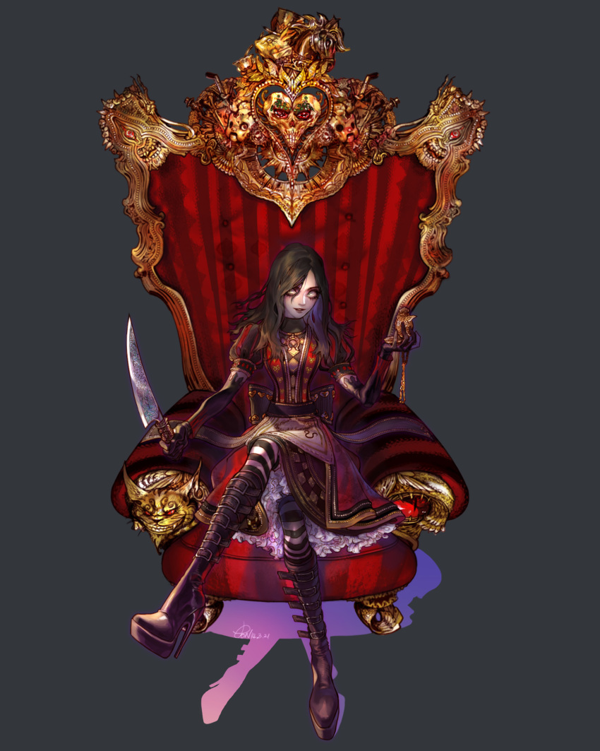 1girl alice:_madness_returns alice_liddell american_mcgee's_alice black_hair blood boots chair grey_background highres knife long_hair looking_at_viewer petticoat pigeon666 solo striped striped_legwear throne weapon