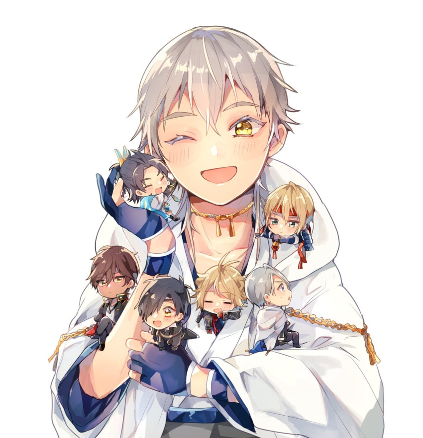 6+boys :d ;d =_= aqua_eyes armor black_gloves black_hair blonde_hair blue_eyes blue_hair brown_hair chibi chiro_(chi-bu-ko) eyepatch feathers gloves hair_feathers headband highres hood japanese_armor japanese_clothes kiwame_(touken_ranbu) male_focus miniboy multiple_boys nansen_ichimonji one_eye_closed ookurikara open_mouth partly_fingerless_gloves shokudaikiri_mitsutada shoulder_armor smile sode taikogane_sadamune touken_ranbu tsurumaru_kuninaga white_hair yamanbagiri_chougi yamanbagiri_kunihiro yellow_eyes