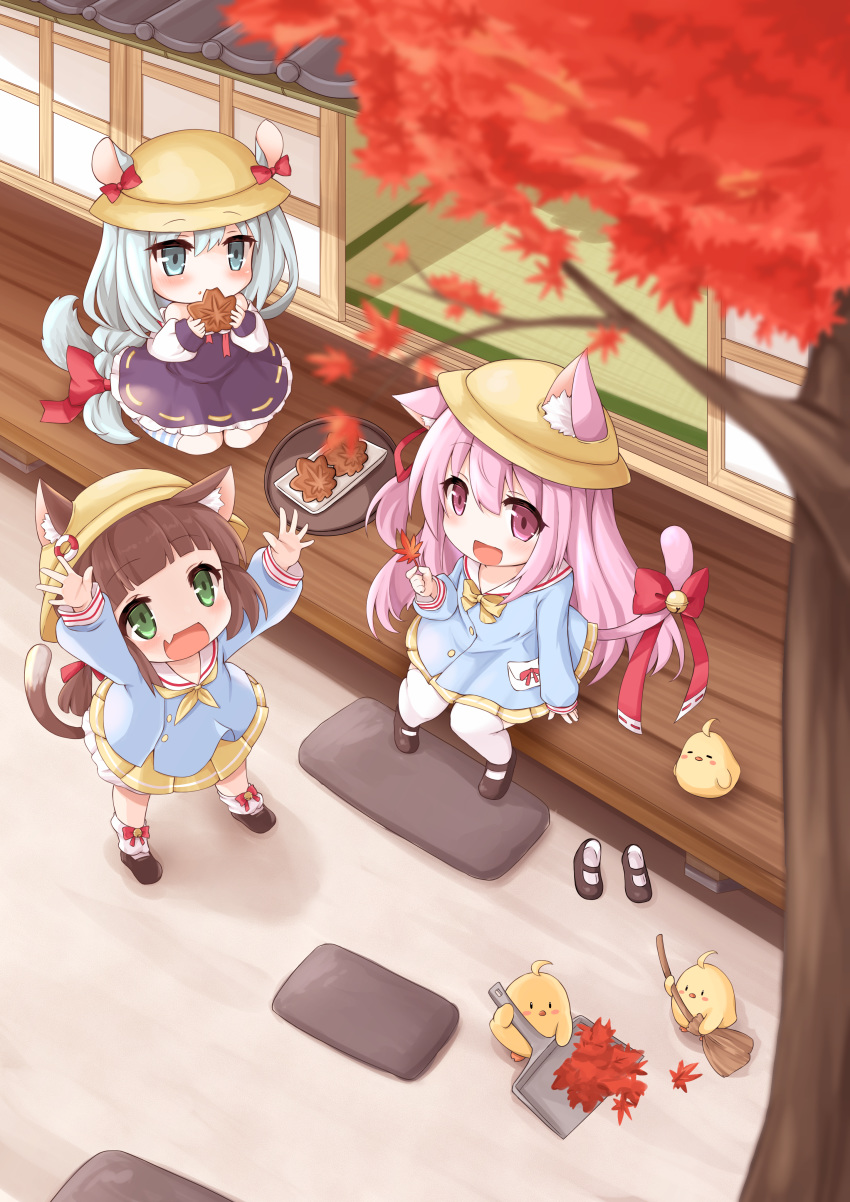 3girls :d absurdres animal_ear_fluff animal_ears architecture arms_up autumn autumn_leaves azur_lane bangs bell bird black_footwear blue_eyes blue_hair blue_shirt blunt_bangs blurry_foreground blush bow broom brown_hair cat_ears cat_tail chick commentary_request dress dustpan ears_through_headwear east_asian_architecture eating eyebrows_visible_through_hair falling_leaves fang food footwear_removed full_body green_eyes hair_between_eyes hat highres holding holding_food holding_leaf huge_filesize jingle_bell kindergarten_uniform kinomiki_(tales22) kisaragi_(azur_lane) leaf lifebuoy_ornament long_hair long_sleeves looking_up loose_socks low-tied_long_hair manjuu_(azur_lane) mikazuki_(azur_lane) multiple_girls mutsuki_(azur_lane) neckerchief off-shoulder_dress off_shoulder open_mouth pink_eyes pink_hair purple_dress ribbon school_hat shadow shirt shoes short_hair sidelocks sitting skin_fang skirt sliding_doors smile squirrel_ears squirrel_tail standing striped striped_legwear tail tail_bell tail_ornament tail_ribbon taiyaki tatami thigh-highs tree twintails veranda very_long_hair wagashi wariza white_legwear wooden_floor yellow_headwear yellow_neckwear yellow_skirt