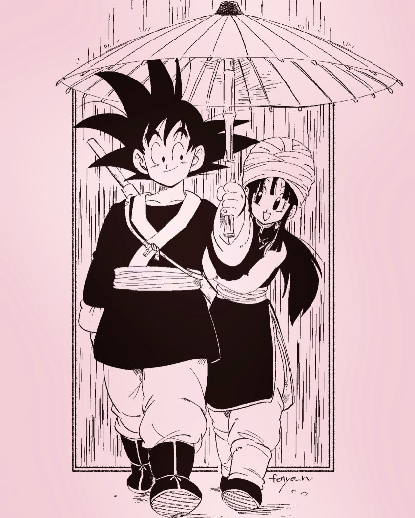 1boy 1girl :d ankle_boots arm_at_side artist_name black_dress black_eyes black_footwear black_hair boots chi-chi_(dragon_ball) china_dress chinese_clothes closed_mouth collarbone commentary_request couple dragon_ball dragon_ball_(classic) dress eyelashes facing_viewer fenyon fingernails full_body hand_up happy hetero highres holding holding_umbrella japanese_clothes leaning leaning_to_the_side looking_at_another looking_to_the_side monochrome nyoibo open_mouth oriental_umbrella pants pants_tucked_in ponytail rain sidelocks simple_background smile son_gokuu spiky_hair turban umbrella walking water