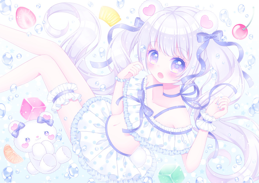 1girl :o animal_ears bangs bare_shoulders bear_ears bikini bikini_skirt blue_bow blue_choker blue_ribbon blush bow bracelet cherry choker collarbone commentary_request cube eyebrows_visible_through_hair feet_out_of_frame food frilled_bikini frills fruit hair_bow hands_up himetsuki_luna jewelry long_hair looking_at_viewer navel open_mouth original pearl_bracelet pineapple pineapple_slice ribbon ribbon_choker silver_hair single_wrist_cuff solo star-shaped_pupils star_(symbol) strawberry stuffed_animal stuffed_toy swimsuit symbol-shaped_pupils teddy_bear twintails very_long_hair violet_eyes water_drop white_bikini wrist_cuffs