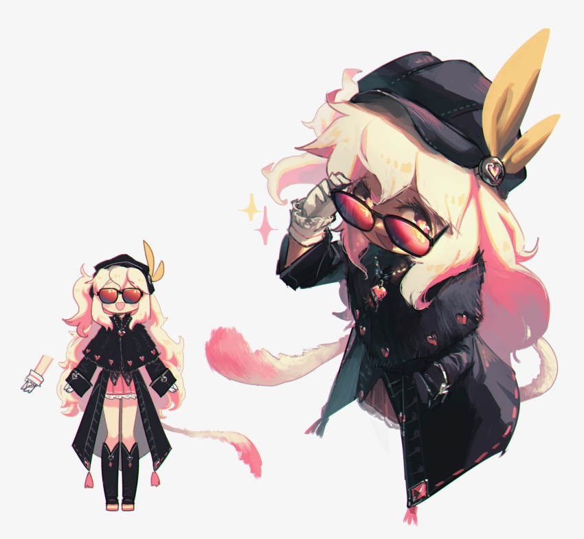 1girl :d black_capelet black_coat black_footwear black_headwear boots capelet coat commentary emmalyn_(porforever) english_commentary fur_capelet gloves hand_in_pocket hat heart heart_necklace highres jewelry knee_boots long_hair long_sleeves looking_at_viewer looking_over_eyewear multiple_views necklace one_side_up open_mouth original porforever red-tinted_eyewear red_eyes simple_background smile sparkle sunglasses tail very_long_hair white_background white_gloves