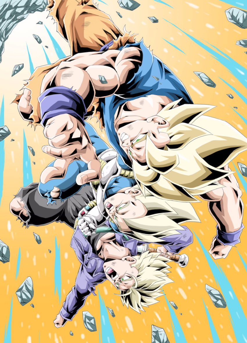 3boys action blonde_hair clenched_teeth dougi dragon_ball dragon_ball_z gloves green_eyes highres male_focus multiple_boys muscle open_mouth rock short_hair shouting son_gokuu spiky_hair super_saiyan super_saiyan_1 teeth trunks_(dragon_ball) upside-down vegeta wristband youngjijii