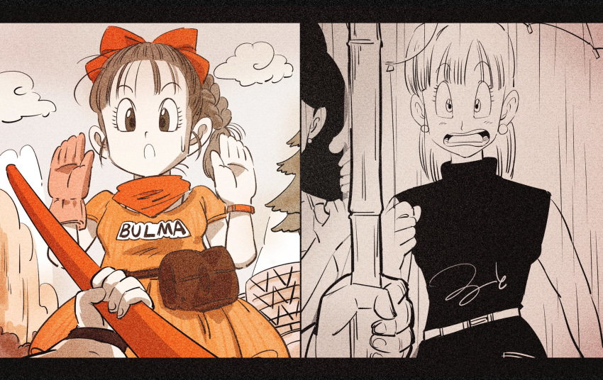 1boy 3girls :o age_difference arm_at_side balloon bangs belt black_dress blunt_bangs braid braided_ponytail bulma character_name clothes_writing clouds commentary_request constricted_pupils curly_hair d: dragon_ball dragon_ball_(classic) dress dual_persona earrings eyebrows_visible_through_hair eyelashes fanny_pack fingernails forest gloves greyscale hair_ribbon hands hands_up highres holding holding_balloon holding_weapon jewelry letterboxed light_blush looking_at_viewer looking_down lunch_(dragon_ball) monochrome mountain multiple_girls nature neckerchief nervous nyoibo older open_mouth out_of_frame outdoors outstretched_hand palms pov rain red_ribbon ribbon ruto830 sepia signature single_glove sky sleeveless sleeveless_dress son_gokuu split_screen straight_hair sweatdrop teeth tree watch watch water_drop weapon wide-eyed wristband younger