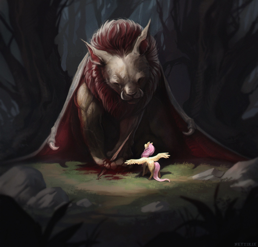 1girl artist_name bare_tree blood brown_fur chimera commentary creature fangs feathered_wings fluttershy grass highres horse horse_tail injury long_hair my_little_pony my_little_pony_friendship_is_magic neytirix outdoors pink_hair plant splinter stone tail tree wings