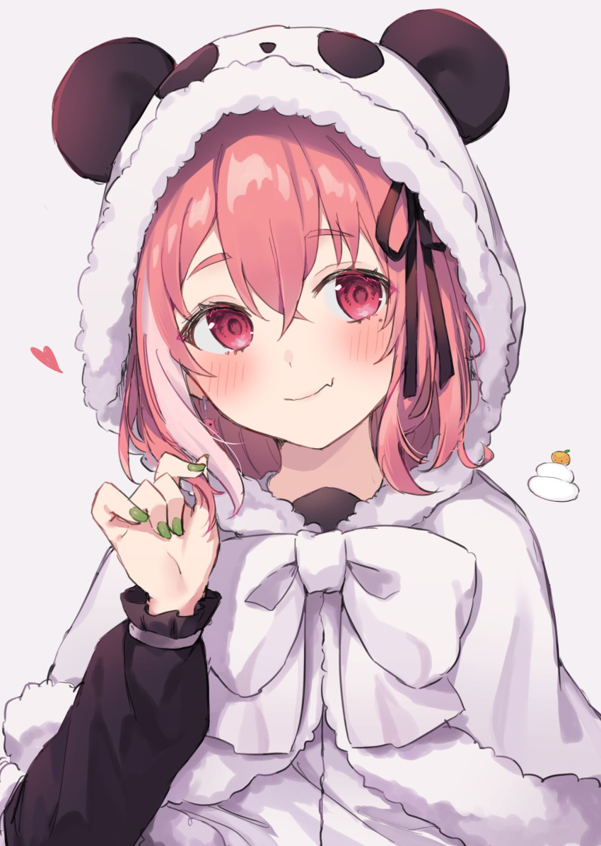 1girl animal_ears animal_hood bangs black_ribbon blush bow eyebrows_visible_through_hair hair_between_eyes hair_ribbon heart highres hood hooded_jacket jacket long_sleeves nail_polish nijisanji panda_ears panda_hood pink_eyes pink_hair purple_background ribbon sasaki_saku simple_background smile solo upper_body virtual_youtuber yuzutouhu_ika