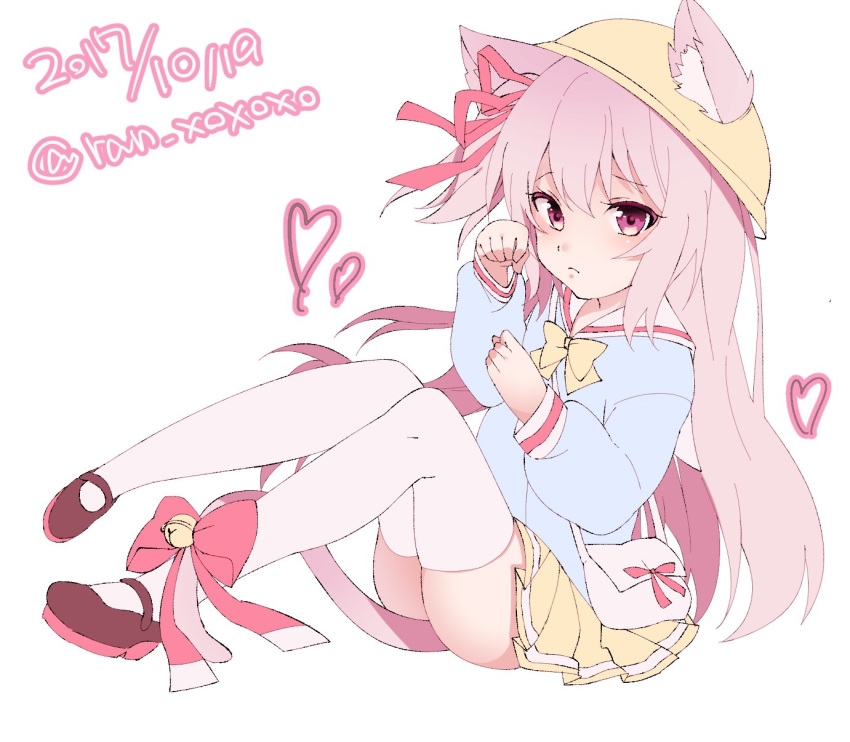 1girl 2017 animal_ear_fluff animal_ears artist_name azur_lane bell black_footwear blue_shirt cat_ears cat_tail dated full_body hat heart highres jingle_bell kindergarten_uniform kisaragi_(azur_lane) knees_up legs legs_up long_hair mary_janes paw_pose pink_eyes pink_hair ran_xoxoxo ribbon school_hat shirt shoes side_ponytail simple_background sitting skirt solo tail tail_ornament tail_ribbon thigh-highs thighs white_background white_legwear yellow_headwear yellow_skirt