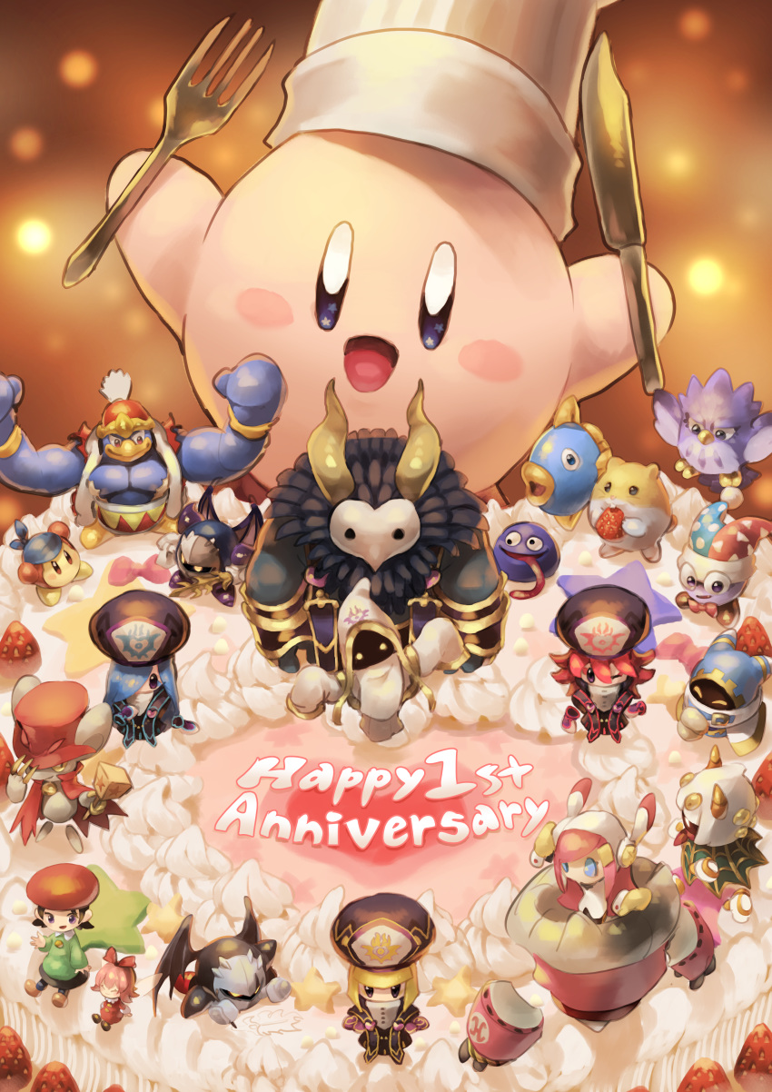 absurdres adeleine anniversary bandana_waddle_dee birthday_cake bow cake chef_hat closed_eyes coo_(kirby) dark_meta_knight daroach drawing english_text flamberge_(kirby) food fork francisca_(kirby) fruit gooey hat heart highres huge_filesize hyness icing kine_(kirby) king_dedede kirby kirby:_star_allies kirby_(series) knife magolor marx meta_knight muscle okame_nin one_eye_closed open_mouth ribbon_(kirby) rick_(kirby) size_difference smile sparkling_eyes star_(symbol) strawberry susie_(kirby) taranza tongue tongue_out void_termina whipped_cream zan_partizanne
