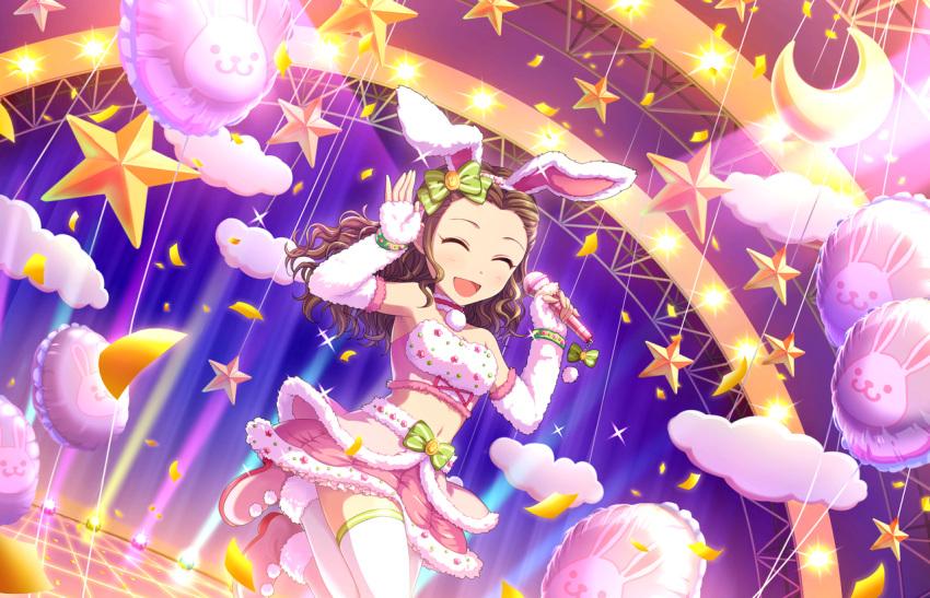 blush brown_eyes brown_hair dress idolmaster_cinderella_girls_starlight_stage long_hair seki_hiromi smile usa_mimi wink