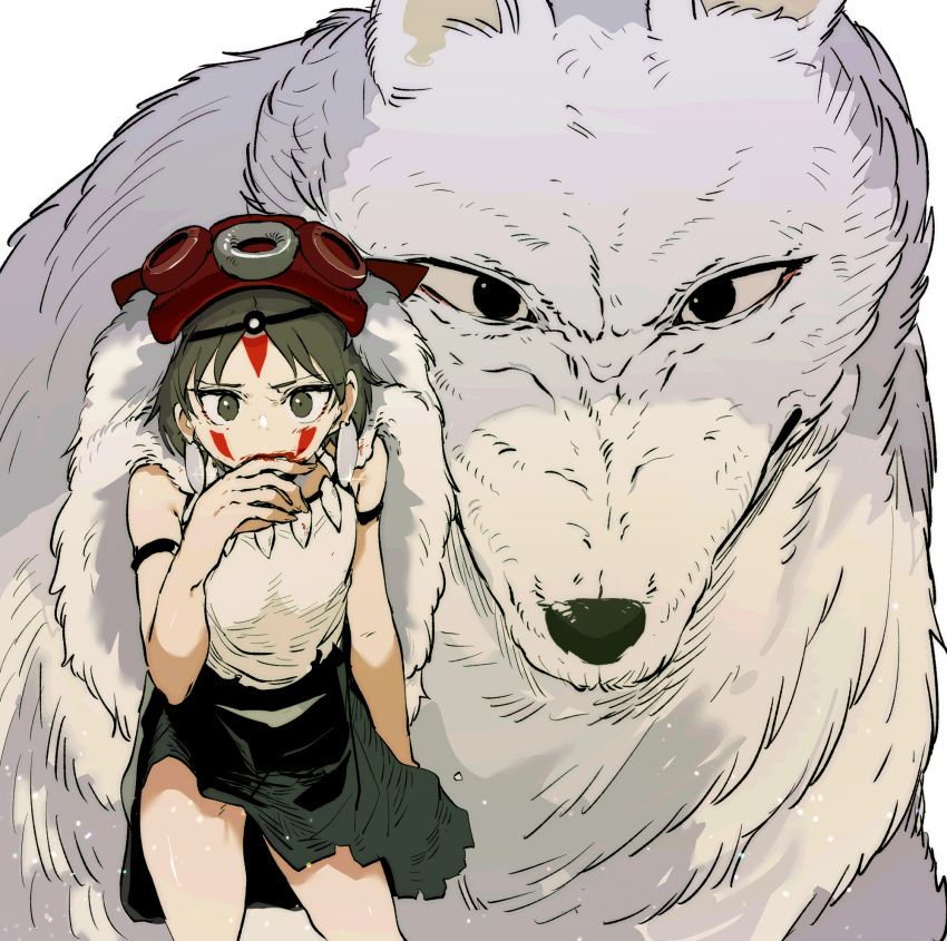 1girl animal arm_strap black_skirt blood blood_on_face circlet commentary ddari earrings english_commentary green_eyes green_hair hand_up highres jewelry looking_at_viewer mononoke_hime moro_(mononoke_hime) oversized_animal pelt san short_hair simple_background skirt solo standing white_background wolf