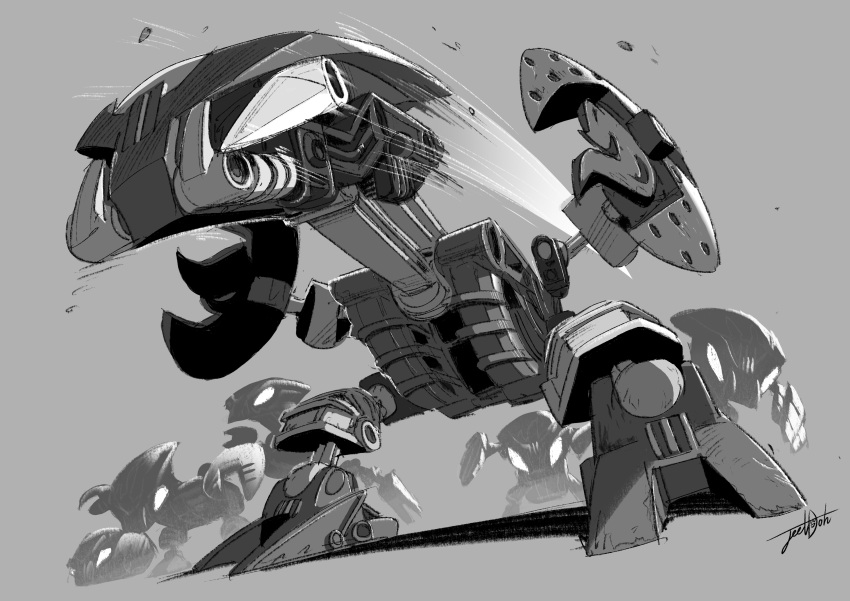 absurdres artist_name bionicle bohrok_(bionicle) gahlok_(bionicle) grey_background greyscale headbutt highres jeetdoh kohrak_(bionicle) lehvak_(bionicle) looking_ahead monochrome no_humans nuhvok_(bionicle) pahrak_(bionicle) robot solo_focus tahnok_(bionicle) the_lego_group