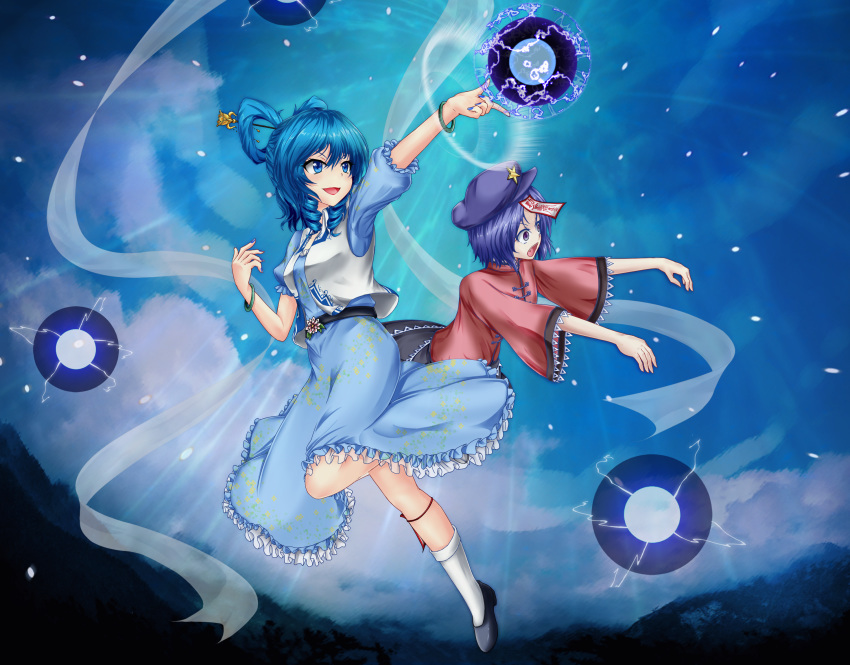 2girls bangle bangs belt black_footwear black_skirt blue_dress blue_eyes blue_hair blue_nails blush bracelet breasts clouds commentary_request danmaku dress drill_hair flower frills full_body gao hagoromo hair_ornament hair_rings hair_stick highres hyoumon_(saihokutan) jewelry kaku_seiga leg_ribbon light_particles light_rays medium_breasts medium_hair miyako_yoshika multiple_girls ofuda open_mouth outstretched_arm outstretched_arms parted_bangs petticoat puffy_short_sleeves puffy_sleeves purple_hair red_shirt ribbon shawl shirt short_hair short_sleeves skirt sky small_breasts smile star_(symbol) touhou v-shaped_eyebrows vest violet_eyes white_legwear white_vest wide_sleeves zombie_pose