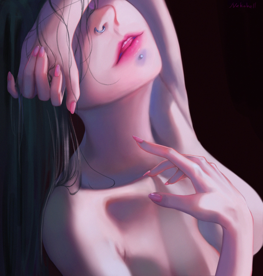1girl absurdres artist_name black_hair breasts collarbone commentary_request covering_eyes facing_up fingernails hands highres huge_filesize lips long_hair medium_breasts nail_polish nekobell nose_piercing nose_ring nude original piercing pink_nails solo upper_teeth