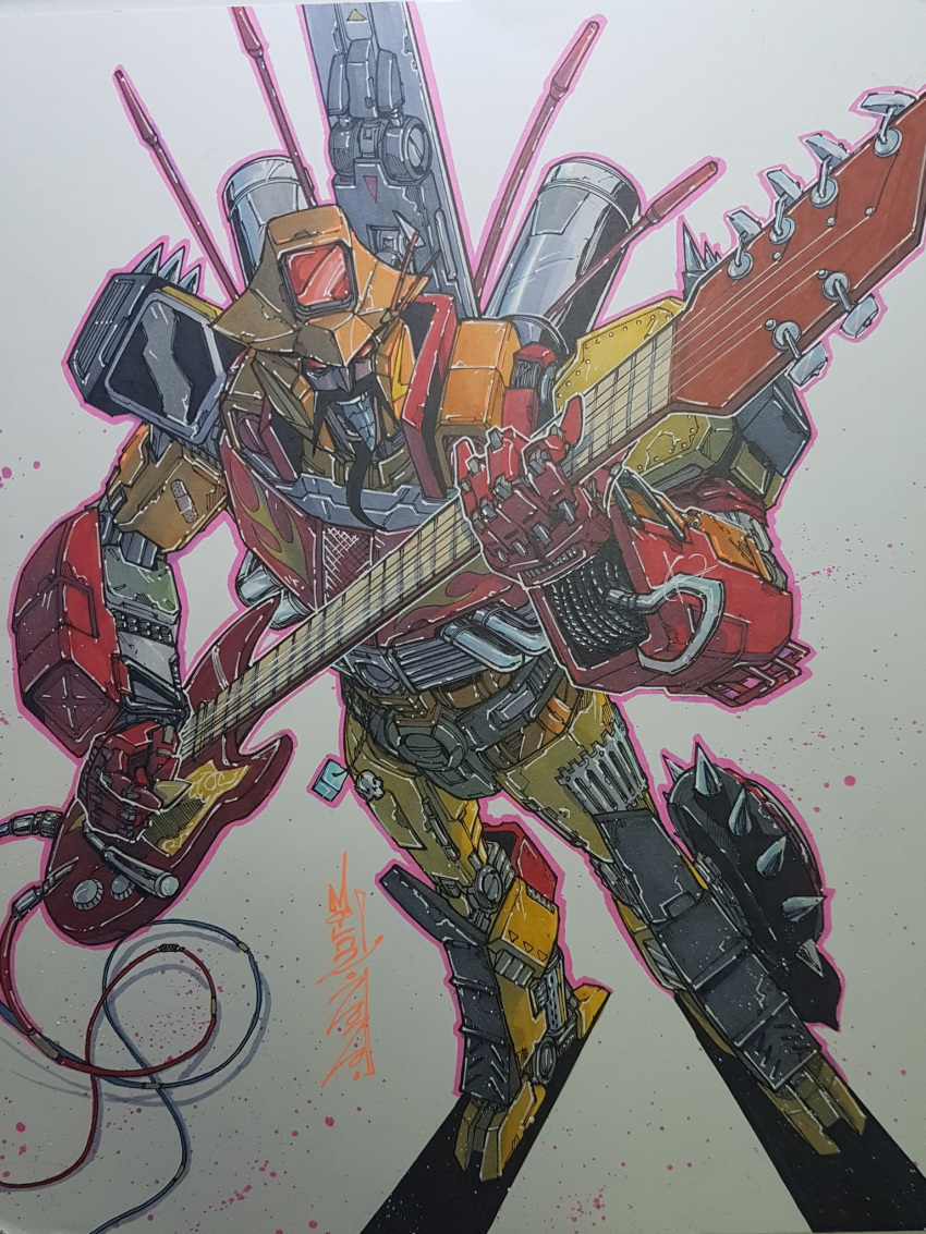 1boy alex_milne commission english_commentary facial_hair guitar highres holding holding_instrument instrument mecha music mustache no_humans playing_instrument red_eyes smirk solo the_transformers_(idw) traditional_media transformers wreck-gar