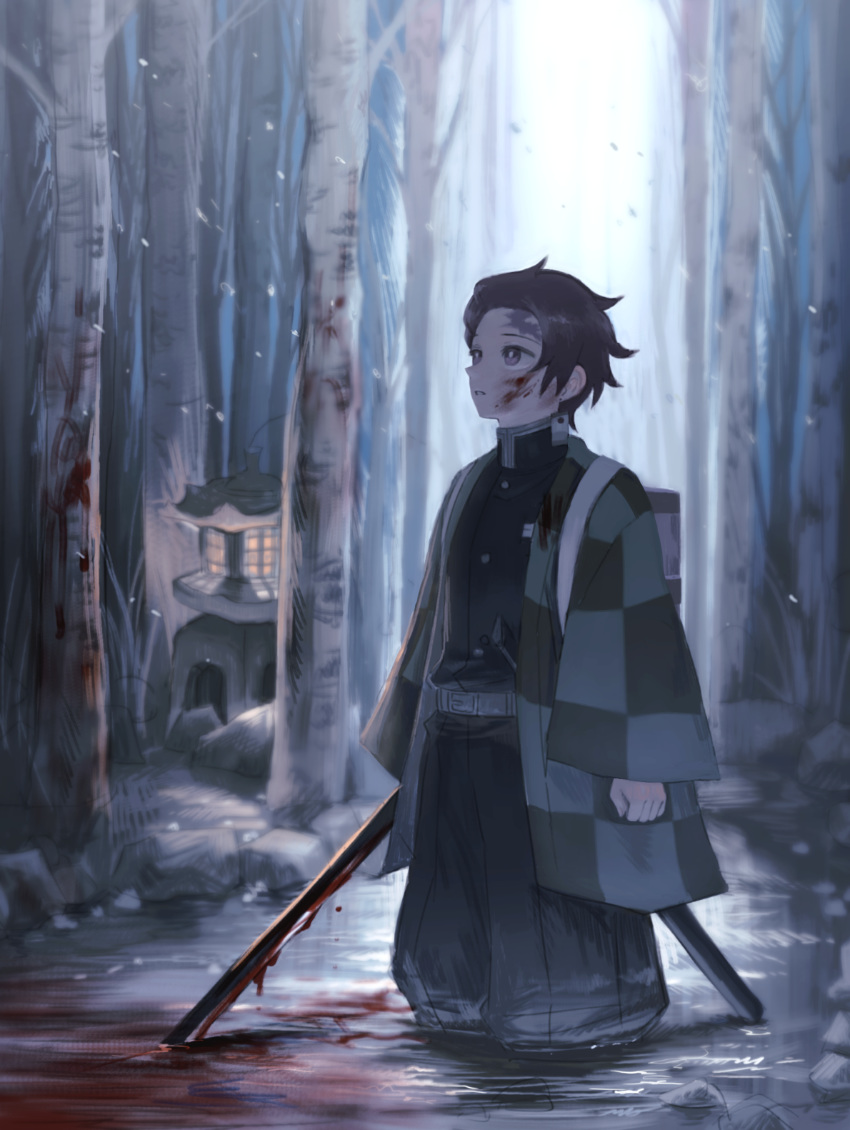 1boy absurdres black_hair black_jacket black_pants blood blood_on_face bloody_weapon brown_eyes checkered forest haori hatou_(pixi59327036) highres holding holding_sword holding_weapon jacket japanese_clothes kamado_tanjirou katana kimetsu_no_yaiba male_focus military_jacket nature pants parted_lips shiny shiny_hair short_hair snowing soaking_feet solo standing sword weapon