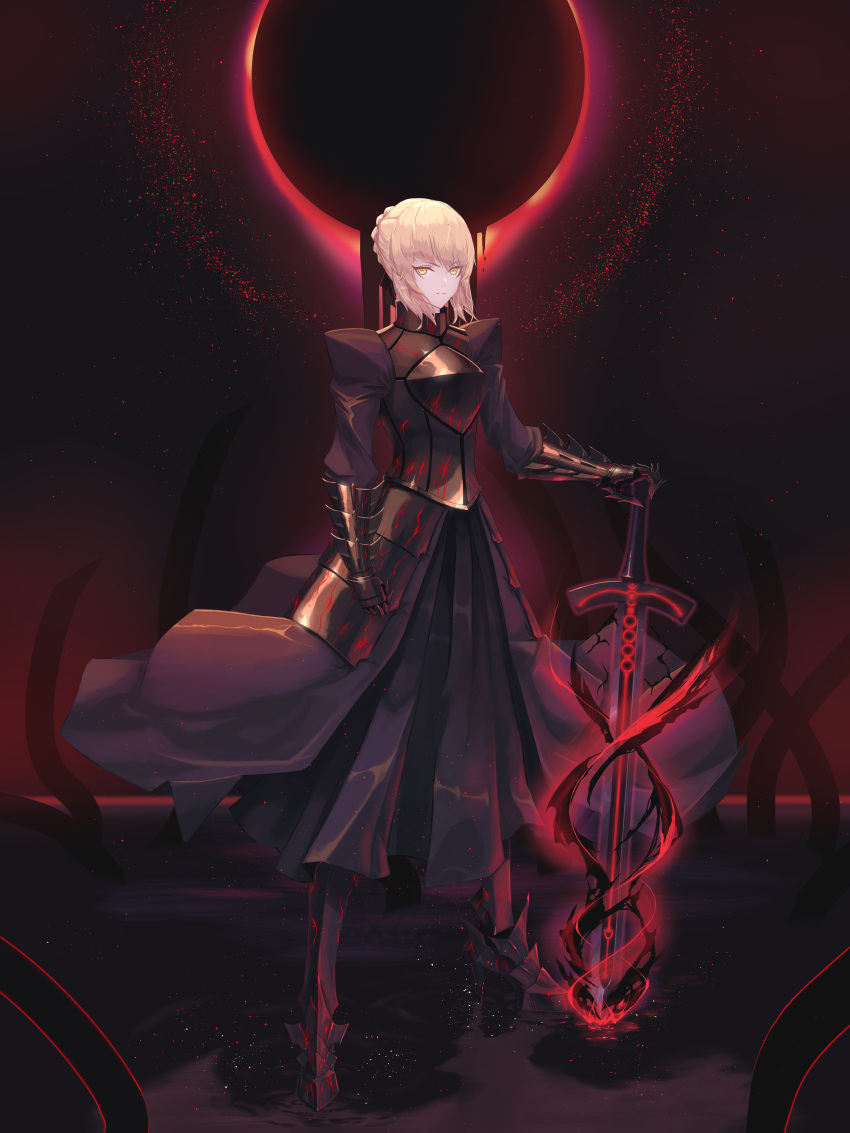 1girl absurdres armor armored_dress artoria_pendragon_(all) black_dress braid braided_bun breastplate dress excalibur_morgan fate/stay_night fate_(series) faulds full_body gauntlets hand_on_hilt highres huge_filesize long_dress pleated_dress saber_alter shiny shiny_hair short_hair silver_hair solo standing un_lim yellow_eyes