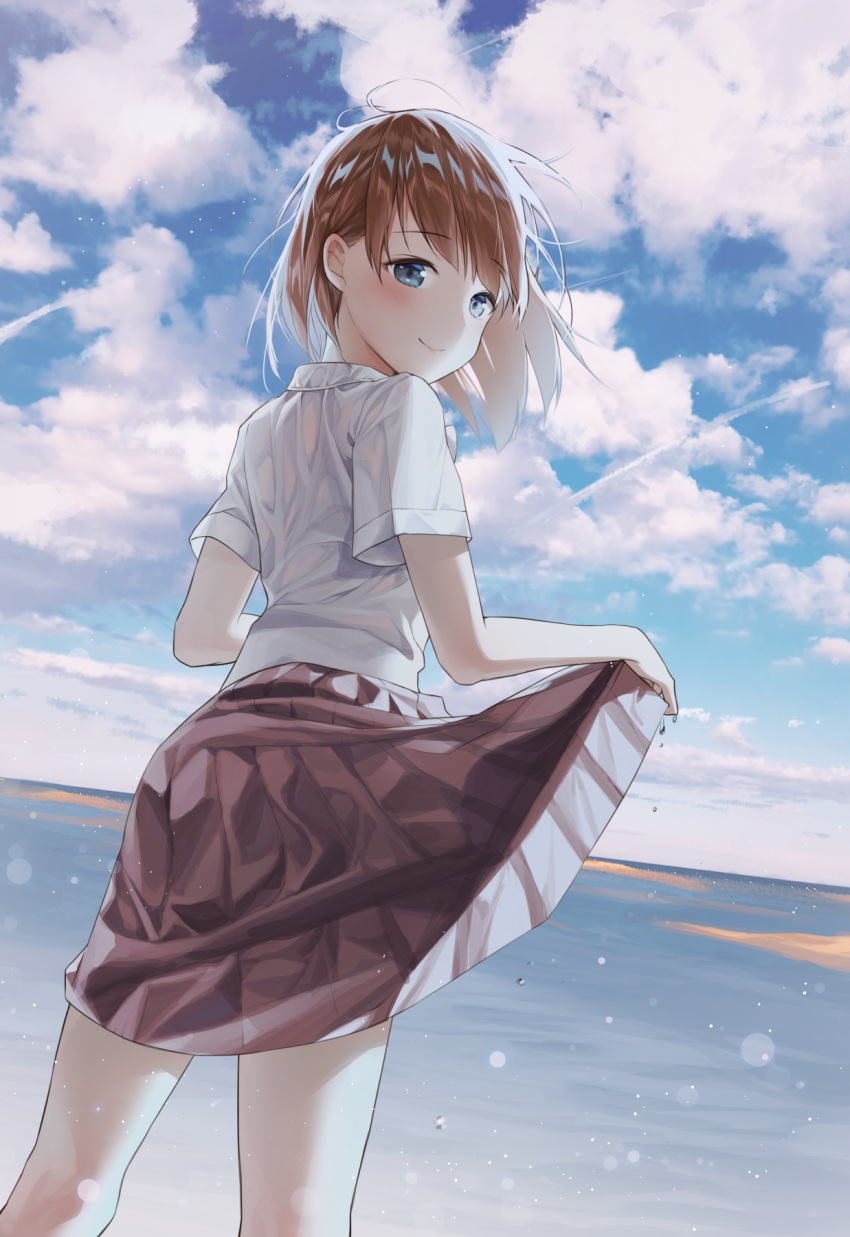 1girl alpha_(ypalpha79) bangs blue_eyes brown_hair brown_skirt closed_mouth clouds day dutch_angle eyebrows_visible_through_hair floating_hair highres lifted_by_self looking_at_viewer looking_back medium_skirt ocean original outdoors pleated_skirt shiny shiny_hair shirt short_hair short_sleeves skirt skirt_lift smile solo wet wet_clothes wet_shirt white_shirt