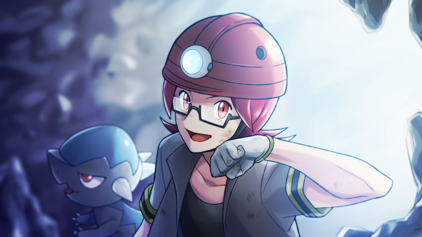 1boy black_shirt blurry blurry_background cave collarbone commentary_request cranidos dirty dirty_clothes dirty_face gen_4_pokemon glasses gloves helmet highres lobolobo2010 looking_at_viewer pokemon pokemon_(creature) pokemon_(game) pokemon_dppt red_eyes redhead roark_(pokemon) semi-rimless_eyewear shiny shirt short_sleeves