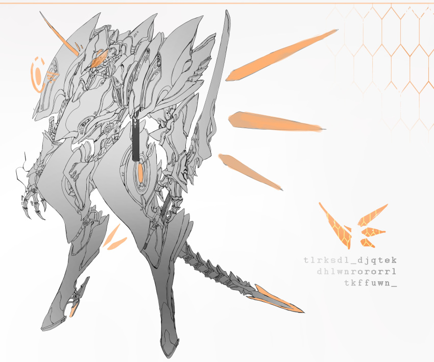 absurdres chyan commentary detached_horns highres holding holding_sword holding_weapon honeycomb_(pattern) horns mecha monochrome no_humans orange_theme original reverse_grip robot single_horn sword symbol_commentary weapon