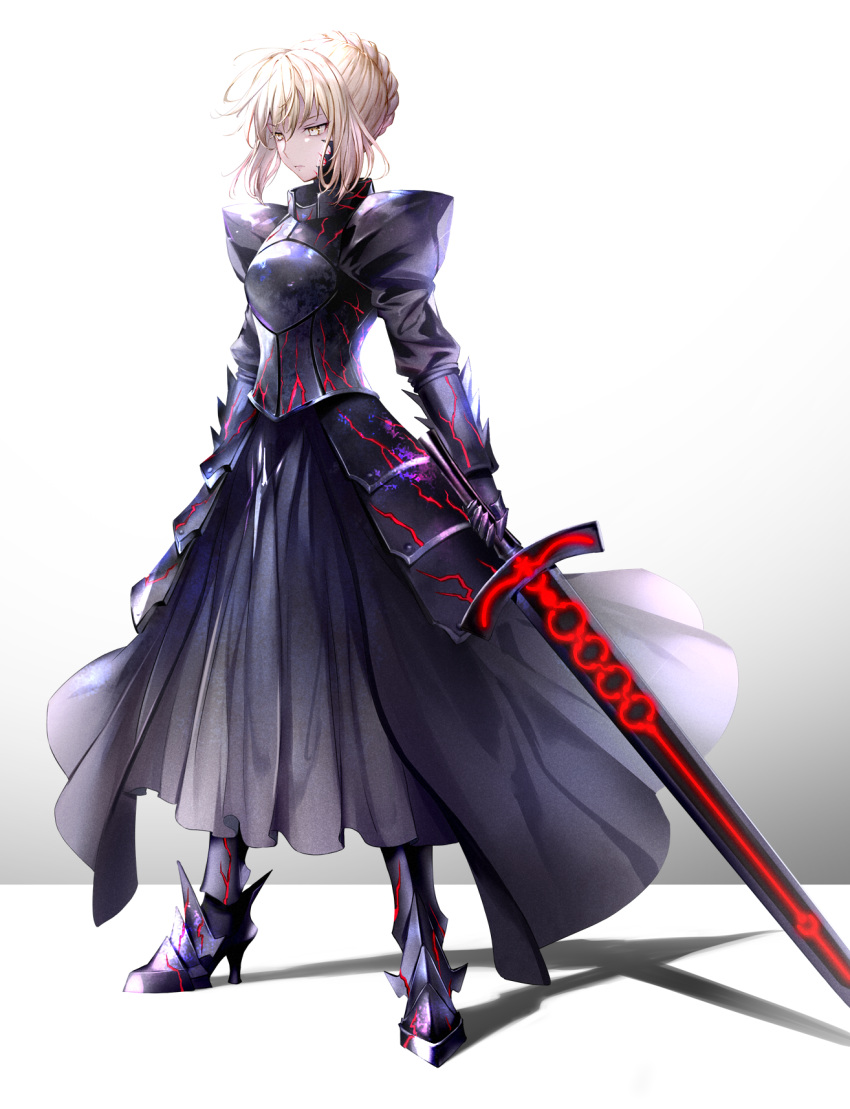 1girl 6688km armor armored_boots armored_dress artoria_pendragon_(all) black_dress black_footwear boots braid braided_bun dress excalibur_morgan fate/stay_night fate_(series) faulds full_body highres holding holding_sword holding_weapon long_dress saber_alter short_hair sidelocks silver_hair simple_background solo standing sword weapon white_background