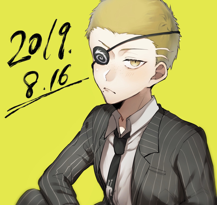 1boy blonde_hair blush closed_mouth collarbone collared_shirt commentary_request danganronpa dated dress_shirt formal frown highres kuzuryuu_fuyuhiko long_hair looking_at_viewer male_focus necktie shirt short_hair simple_background solo striped suit super_danganronpa_2 upper_body very_short_hair yellow_background zabe_o