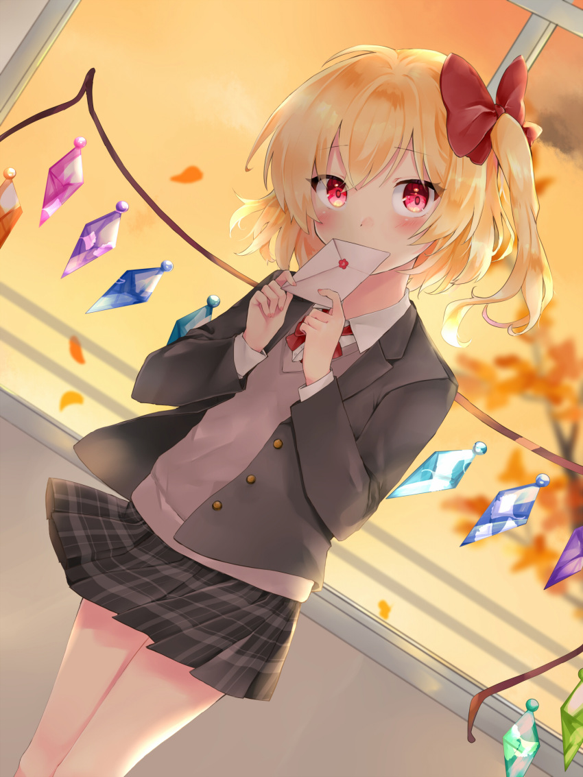 1girl alternate_costume bangs blonde_hair blurry blurry_background blush brown_sweater covering_mouth dutch_angle envelope eyebrows_visible_through_hair feet_out_of_frame flandre_scarlet grey_jacket hair_ribbon head_tilt highres holding holding_envelope jacket long_sleeves looking_at_viewer love_letter microskirt neck_ribbon no_hat no_headwear one_side_up open_clothes open_jacket plaid plaid_skirt red_eyes red_neckwear ribbon school_uniform shirt short_hair skirt solo standing sunset sweater touhou tree white_shirt wind wind_lift window wings yurara_(aroma42enola)