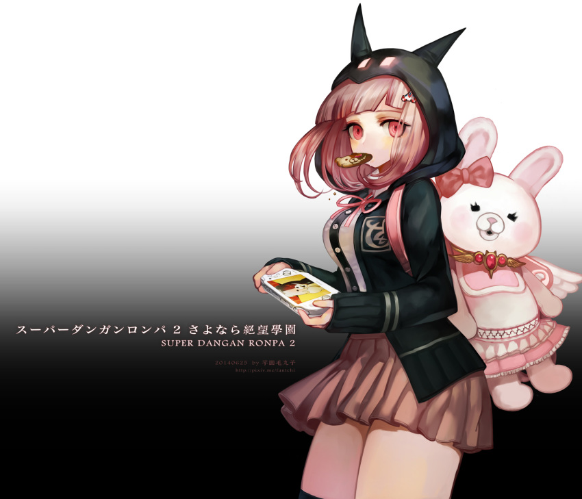 1girl animal_ears bag bangs black_background black_jacket black_legwear blunt_bangs bow breasts brown_skirt commentary_request copyright_name cowboy_shot danganronpa fantchi flipped_hair food food_in_mouth hair_ornament hairclip handheld_game_console highres holding hood hoodie jacket long_hair long_sleeves looking_at_viewer miniskirt monokuma monomi_(danganronpa) mouth_hold multicolored multicolored_background nanami_chiaki pink_bow pink_eyes pink_hair playstation_portable pleated_skirt ribbon shirt short_hair skirt sleeves_past_wrists solo stuffed_animal stuffed_toy super_danganronpa_2 thigh-highs thighs translation_request watermark web_address white_background zettai_ryouiki