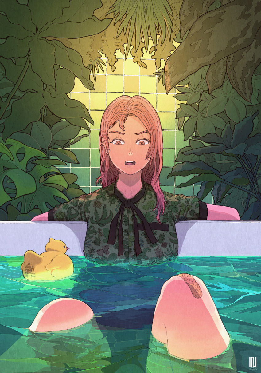 1girl absurdres bandaid bandaid_on_knee brown_eyes brown_hair feet_out_of_frame green_shirt highres huge_filesize inukoko knees_up leaf long_hair open_mouth original partially_submerged plant print_shirt rubber_duck shirt solo tile_wall tiles