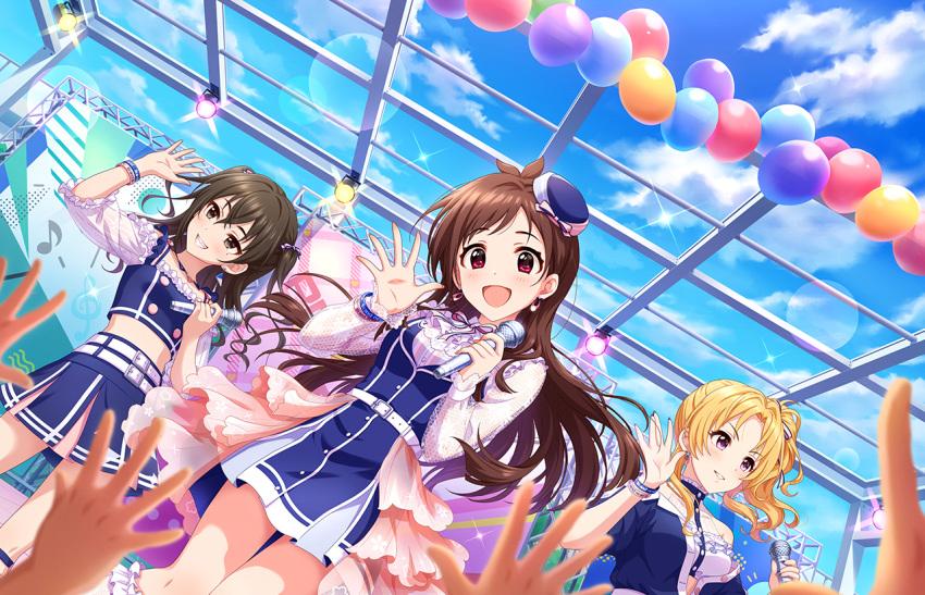 blush brown_eyes brown_hair dress idolmaster_cinderella_girls_starlight_stage kiryuu_tsukasa_(idolmaster) long_hair smile sunazuka_akira tsujino_akari