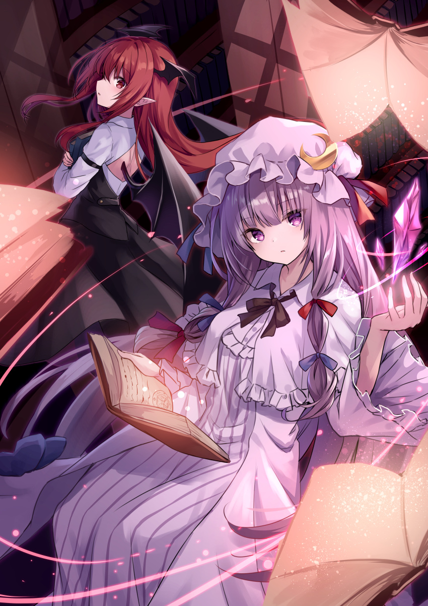 2girls absurdres back_cutout black_hair black_neckwear blue_bow blue_ribbon book book_hug bookshelf bow capelet clothing_cutout commentary_request crescent crescent_moon_pin crystal demon_wings dress hair_bow hand_up hat hat_ribbon head_wings highres holding holding_book koakuma kure~pu long_hair long_sleeves looking_at_viewer multiple_girls patchouli_knowledge pointy_ears purple_dress purple_hair purple_headwear red_bow red_eyes red_ribbon redhead ribbon shirt touhou violet_eyes white_shirt wide_sleeves wings