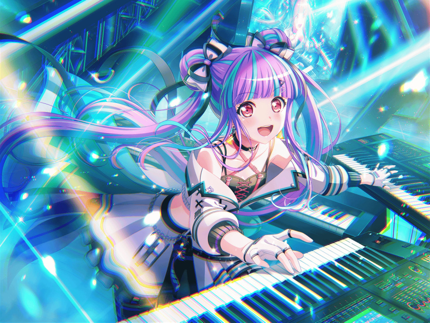 bang_dream! blush dress keyboard_(instrument) long_hair pareo_(bang_dream!) purple_hair red_eyes smile twintails