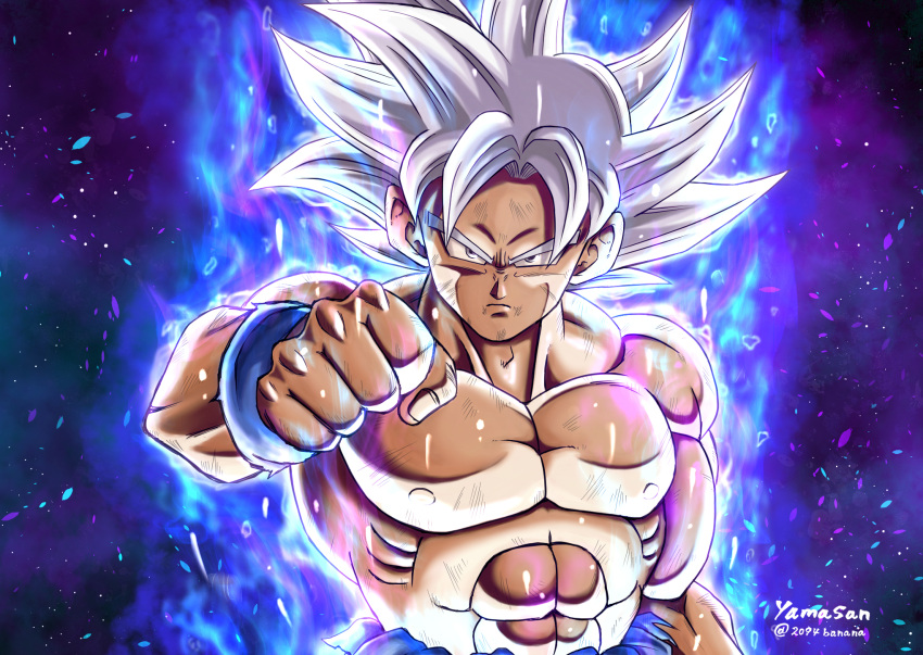 1boy 2094banana bruise clenched_hand closed_mouth dragon_ball dragon_ball_super highres injury long_hair looking_at_viewer male_focus muscle silver_hair solo son_gokuu spiky_hair twitter_username ultra_instinct v-shaped_eyebrows