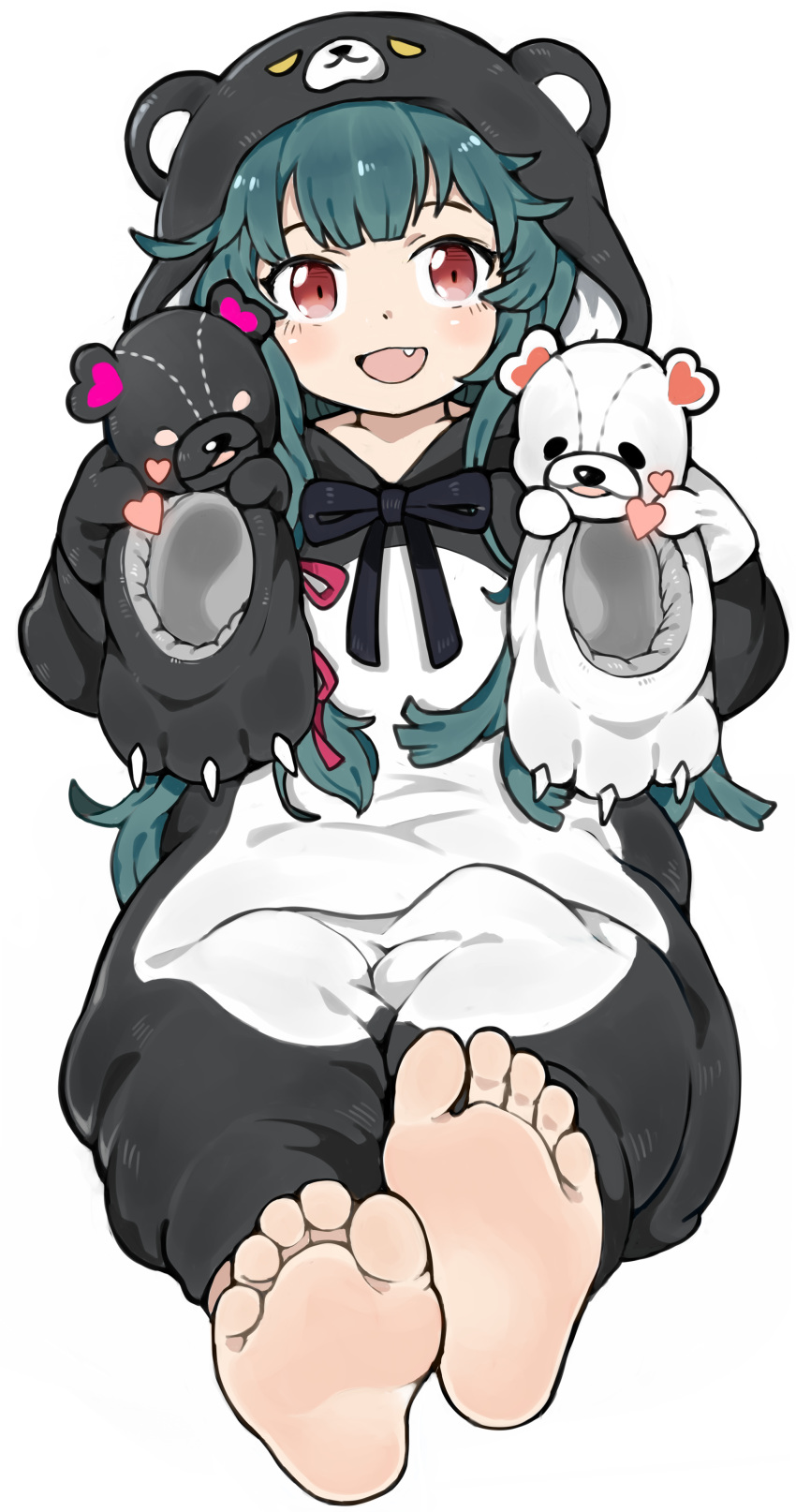 1girl absurdres animal_costume animal_ears animal_hood animal_slippers bangs barefoot bear_costume bear_ears bear_hood bear_paws blush bow eyebrows eyelashes fang feet footprints footwear_removed foreshortening gloves greek_toe green_hair heart highres holding holding_clothes holding_footwear holding_shoes hood hood_up hoodie kuma_kuma_kuma_bear long_hair long_sleeves looking_at_viewer menla open_mouth paw_gloves paw_shoes paws pov pov_feet red_eyes ribbon shoes shoes_removed simple_background sitting slippers slippers_removed smile soles solo teasing teeth toes tongue very_long_hair white_background yuna_(kuma_kuma_kuma_bear)