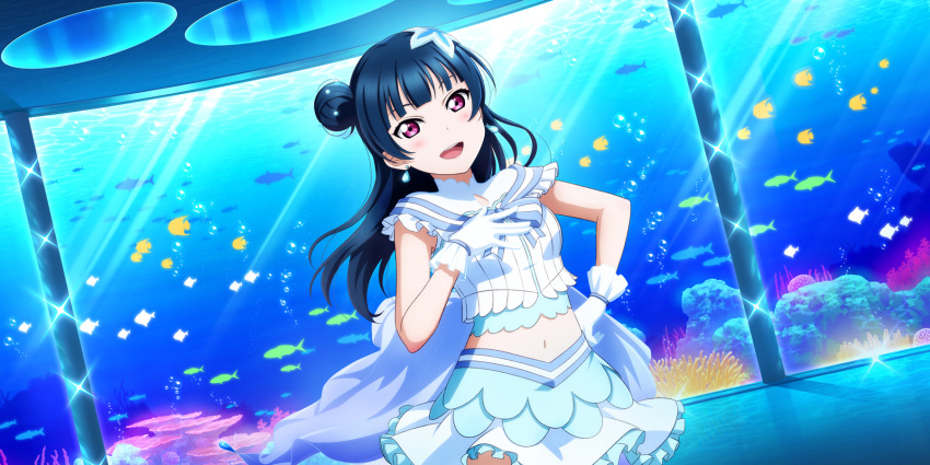blue_hair blush dress long_hair love_live!_school_idol_festival_all_stars pink_eyes smile tsushima_yoshiko