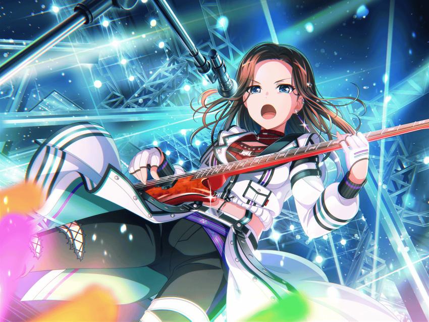 bang_dream! black_hair blush dress green_eyes guitar layer_(bang_dream!) short_hair smile