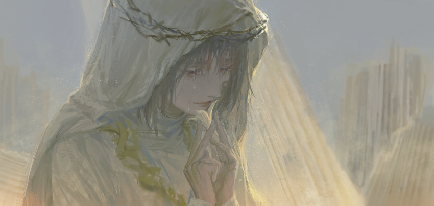 1girl blue_eyes broken closed_mouth crown_of_thorns crying fingernails flower grey_hair half-closed_eyes highres holding holding_flower long_hair original outdoors pillar qunqing123 sketch solo tears upper_body veil white_flower