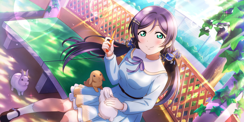 blush dress green_eyes long_hair love_live!_school_idol_festival_all_stars purple_hair smile toujou_nozomi twintails