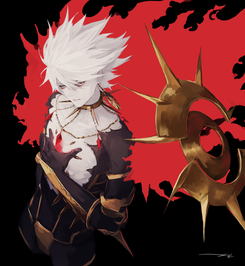 1boy absurdres armor collar dark earrings fate/apocrypha fate/grand_order fate_(series) floating gem glint glowing hair_between_eyes highres jewelry karna_(fate) kouzuki_kei male_focus pale_skin parted_lips red_pupils signature single_earring solo spiked_collar spikes spiky_hair white_eyes white_hair