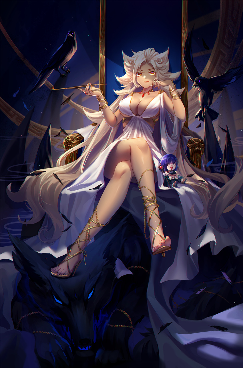 1girl bare_legs bird blonde_hair breasts chair crossed_legs crow dress feet high_heels highres huge_breasts lalazyt long_hair no_bra pipe shoes sitting slayers slayers_try toes white_dress wolf xelloss zelos_wilder