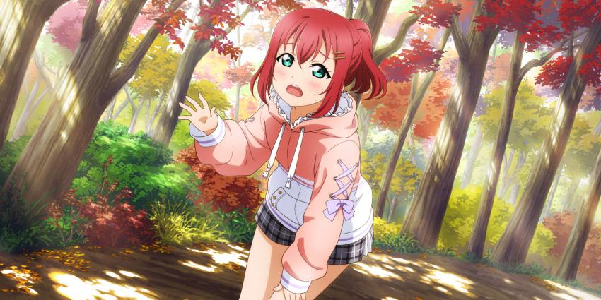 autumn blush dress green_eyes kurosawa_ruby love_live!_school_idol_festival_all_stars pink_hair short_hair smile