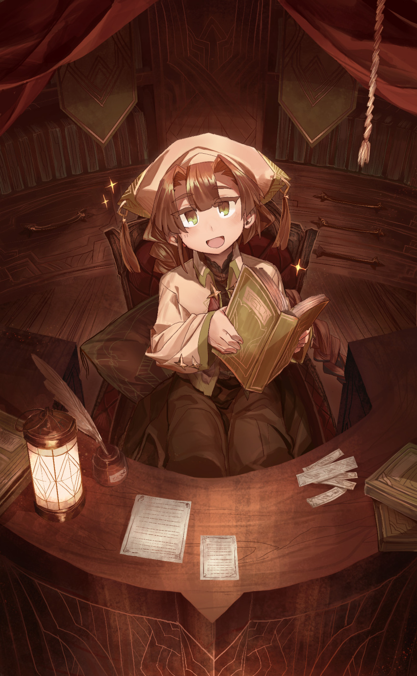 1girl :d book bookshelf braid brown_eyes brown_hair chair green_eyes head_scarf head_tilt highres holding holding_book ink_bottle lantern library long_sleeves looking_at_viewer multicolored multicolored_eyes open_book open_mouth original paper quill shichigatsu single_braid sitting smile solo
