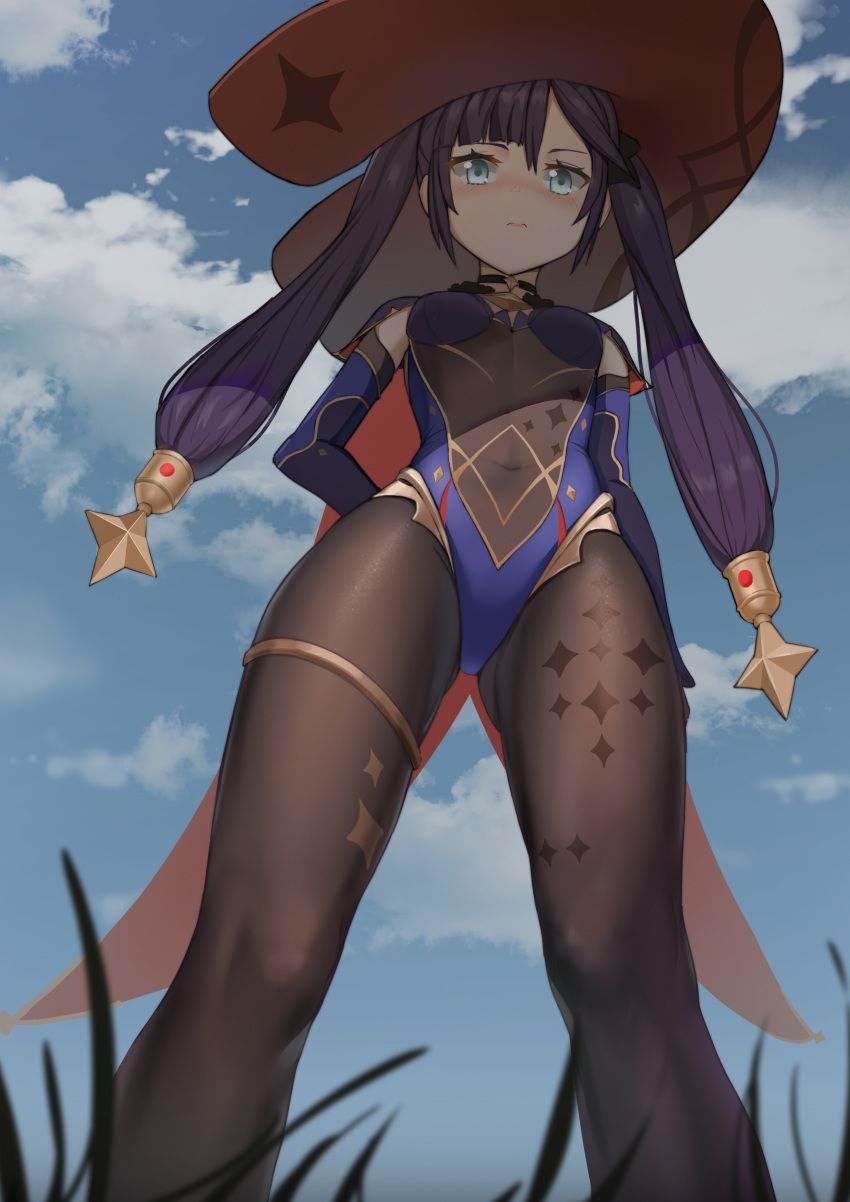 1girl absurdres ass_visible_through_thighs blue_eyes blue_sky bodysuit breasts brown_legwear cape clouds darcy_(pixiv11949485) day detached_sleeves from_below genshin_impact grass hat highres leotard long_hair looking_at_viewer mona_(genshin_impact) outdoors pantyhose purple_hair sky small_breasts solo standing twintails witch_hat