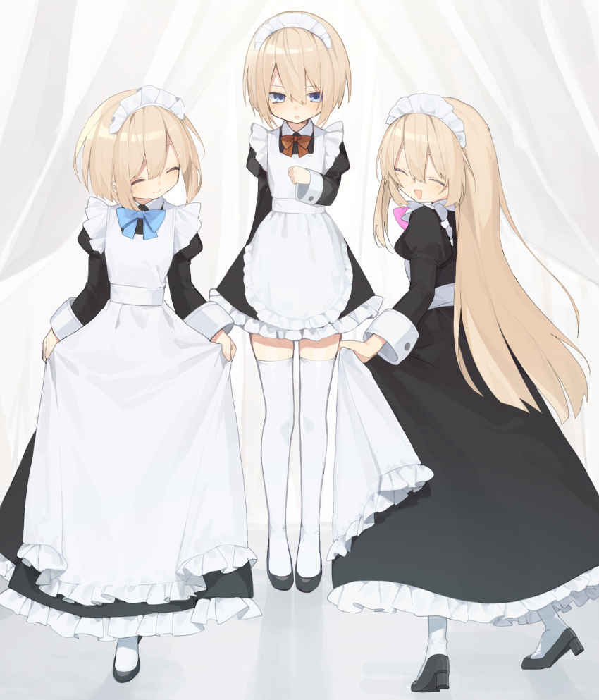 3girls absurdres alternate_costume apron arms_behind_back black_dress black_footwear blanc blue_neckwear blush bow bowtie buran_buta closed_eyes curtsey dress enmaided facing_another facing_to_the_side frilled_apron frilled_dress frills from_side full_body hair_between_eyes hand_on_own_chest high_heels highres long_dress looking_at_another looking_at_viewer maid maid_apron maid_headdress multiple_girls neptune_(series) open_mouth pink_neckwear ram_(neptune_series) red_neckwear rom_(neptune_series) short_hair siblings simple_background sisters skirt_hold smile thigh-highs twins white_apron white_background