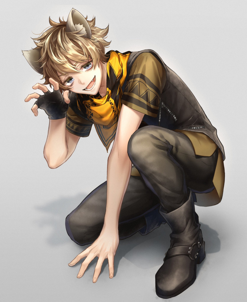 1boy animal_ears ankle_boots arm_support bangs black_footwear black_gloves blonde_hair boots brown_hair brown_pants commentary_request fang fingerless_gloves gloves hand_up highres hyena_ears looking_at_viewer lower_teeth male_focus nanin open_mouth pants ruggie_bucchi scarf short_hair short_sleeves smile solo sweater_vest twisted_wonderland vest