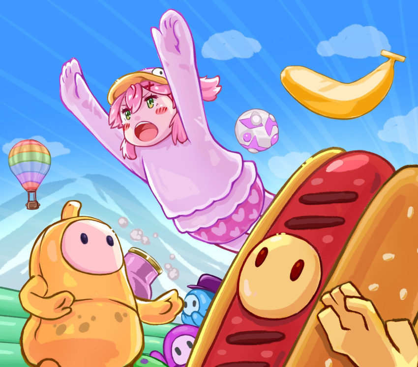 1girl 4others aircraft banana blue_sky blush clouds cosplay duck_costume fall_guy fall_guy_(cosplay) fall_guys food fruit green_eyes heart highres hololive hot_air_balloon hot_dog ist_lei_mikan multiple_others open_mouth outdoors pink_hair sakura_miko sky virtual_youtuber